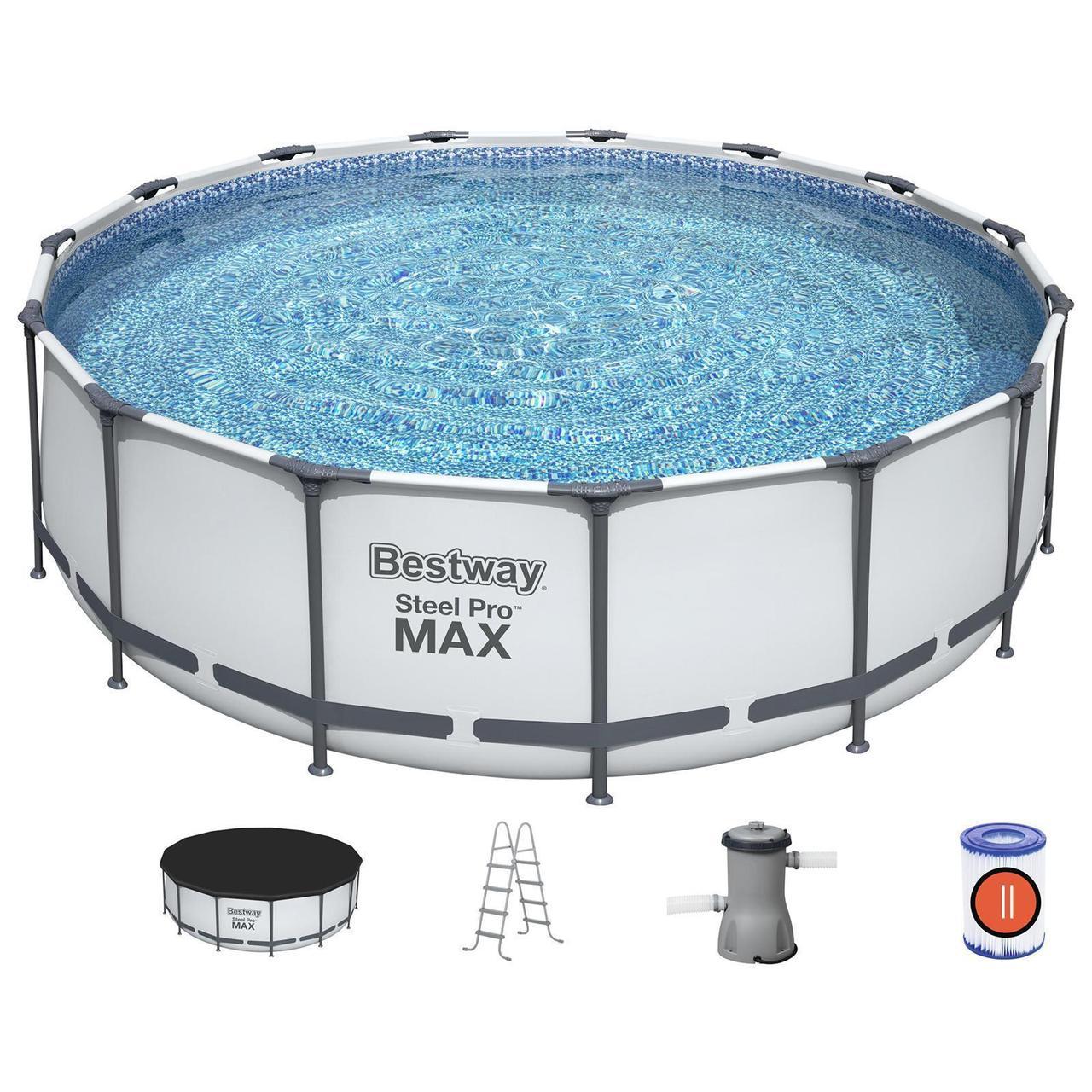 Бассейн каркасный bestway круглый 366 на 122 см (насос с фильтром 220V, лестница, тент,)