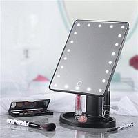 Косметическое зеркало для макияжа с LED подсветкой черное.