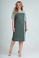 Женское летнее из вискозы зеленое большого размера платье Jurimex 2492 52р.