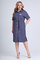 Женское летнее хлопковое синее большого размера платье Jurimex 2488 54р.
