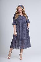 Женское летнее шифоновое синее большого размера платье Rishelie 842 /2 52р.