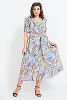 Женское летнее шифоновое большого размера платье Mubliz 549 голубой_цветы 52р.