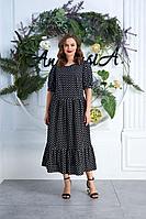 Женское летнее хлопковое черное платье Anastasia 620 черный 48р.