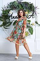 Женское летнее шифоновое большого размера платье Anastasia 610 зеленый 50р.