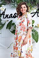 Женское летнее большого размера платье Anastasia 611 молочный 50р.
