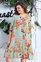 Женское летнее большого размера платье Anastasia 612 св.зеленый 50р.