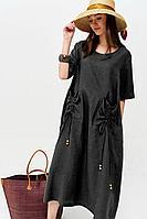Женское летнее льняное черное большого размера платье Lyushe 2657 48р.
