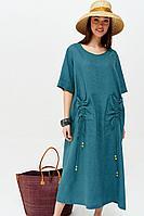 Женское летнее льняное бирюзовое большого размера платье Lyushe 2658 48р.