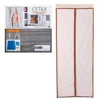 Сетка антимоскитная для дверей, 90 x 210 см, на магнитах, цвет коричневый