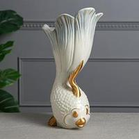 Ваза настольная 'Рыбка', декор золотистый, перламутр, 32.5 см