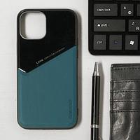 Чехол LuazON для iPhone 12/12 Pro, поддержка MagSafe, вставка из стекла и кожи, зеленый