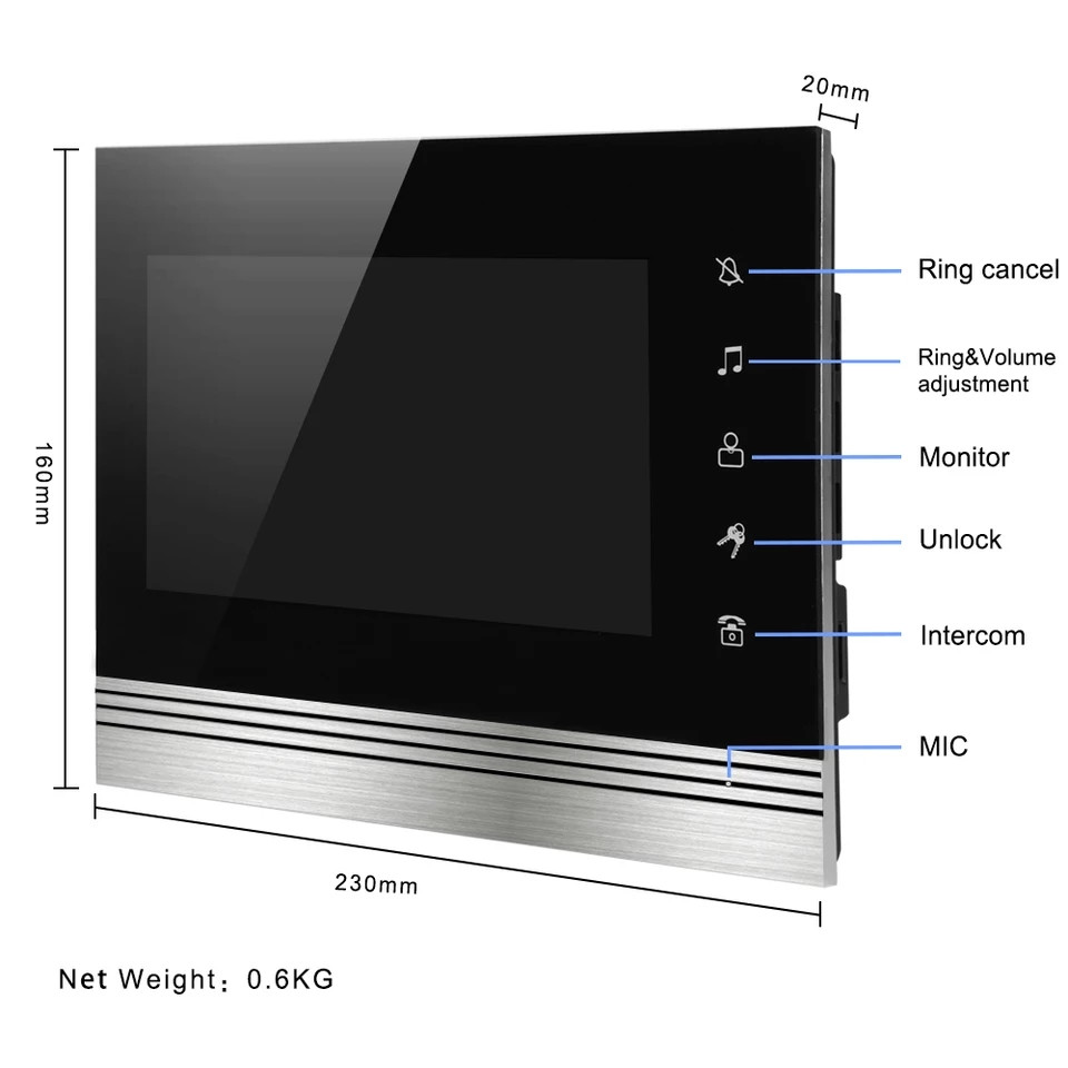 Сенсорный видеодомофон SUNQAR V70 SD