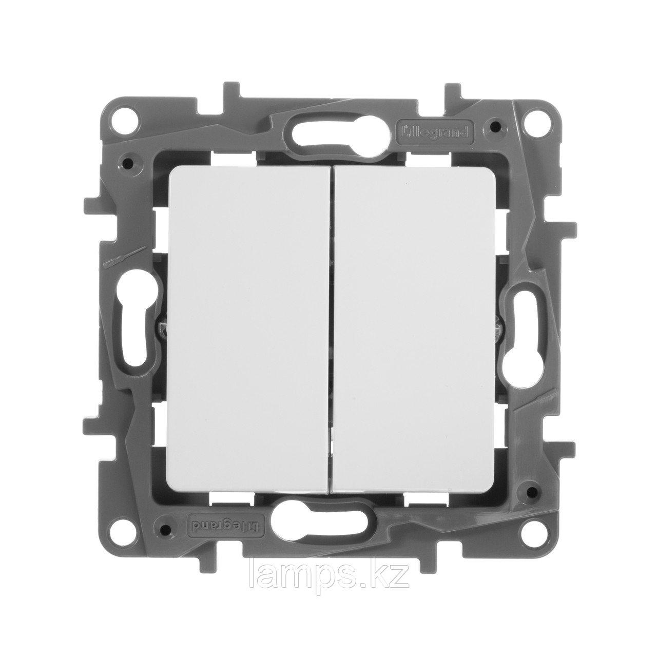 Выключатель двухклавишный - Etika - 10 A - 250 В~ - белый