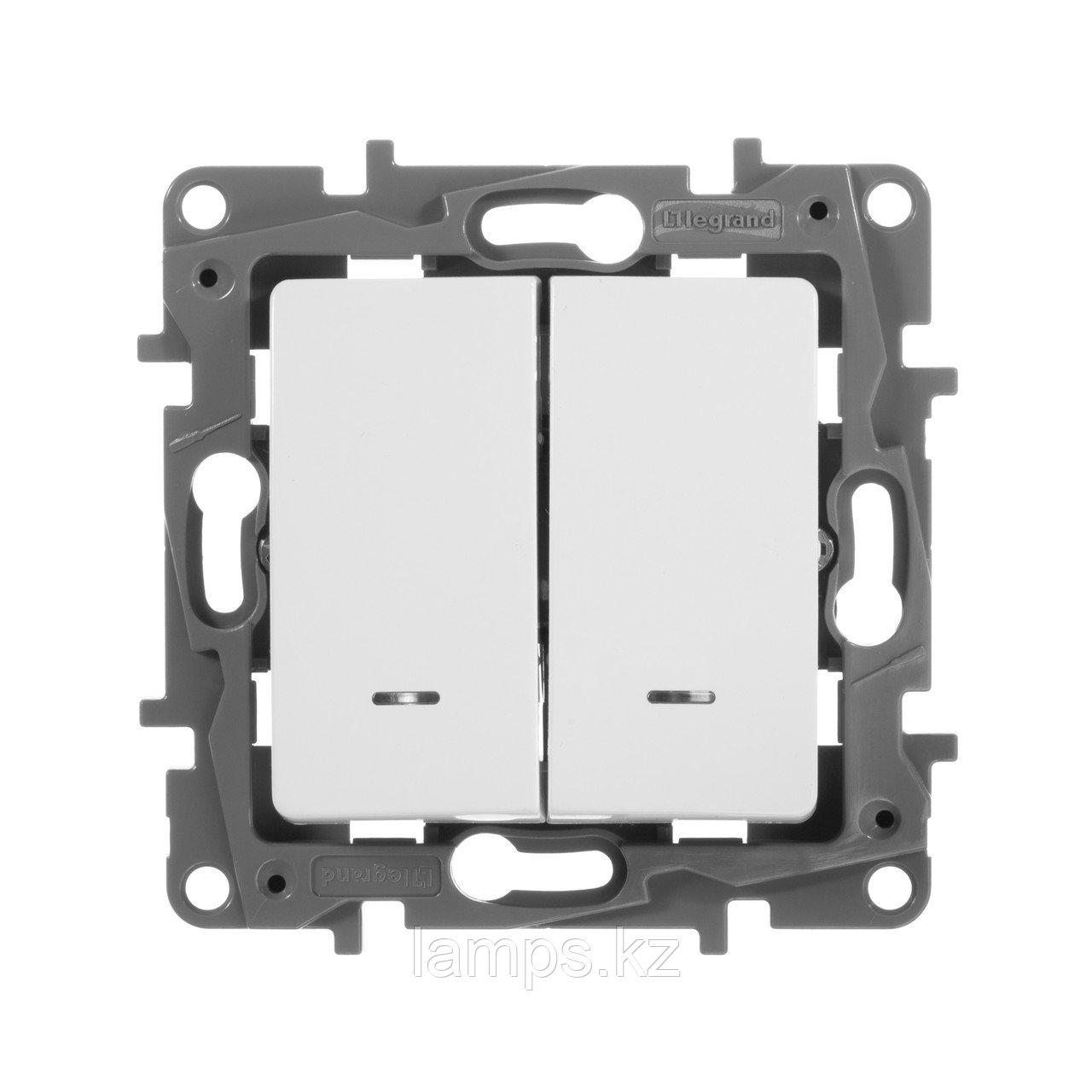 Выключатель двухклавишный с подсветкой - Etika - 10 A - 250 В~ - белый