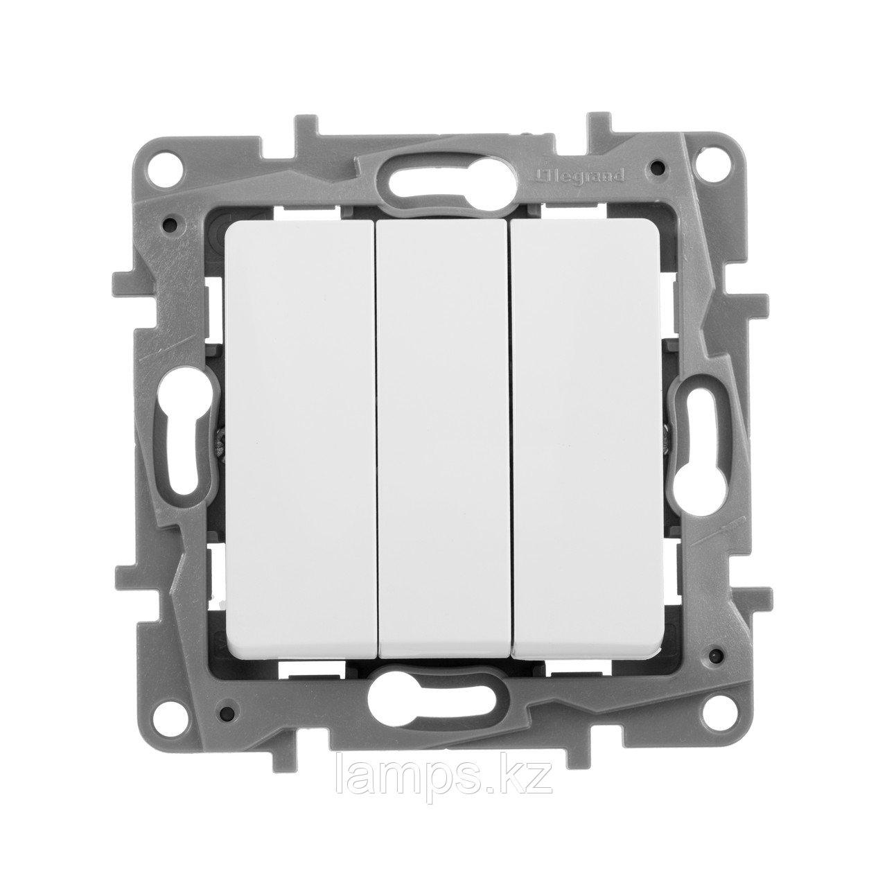 Выключатель трехклавишный - Etika - 10 A - 250 В~ - белый