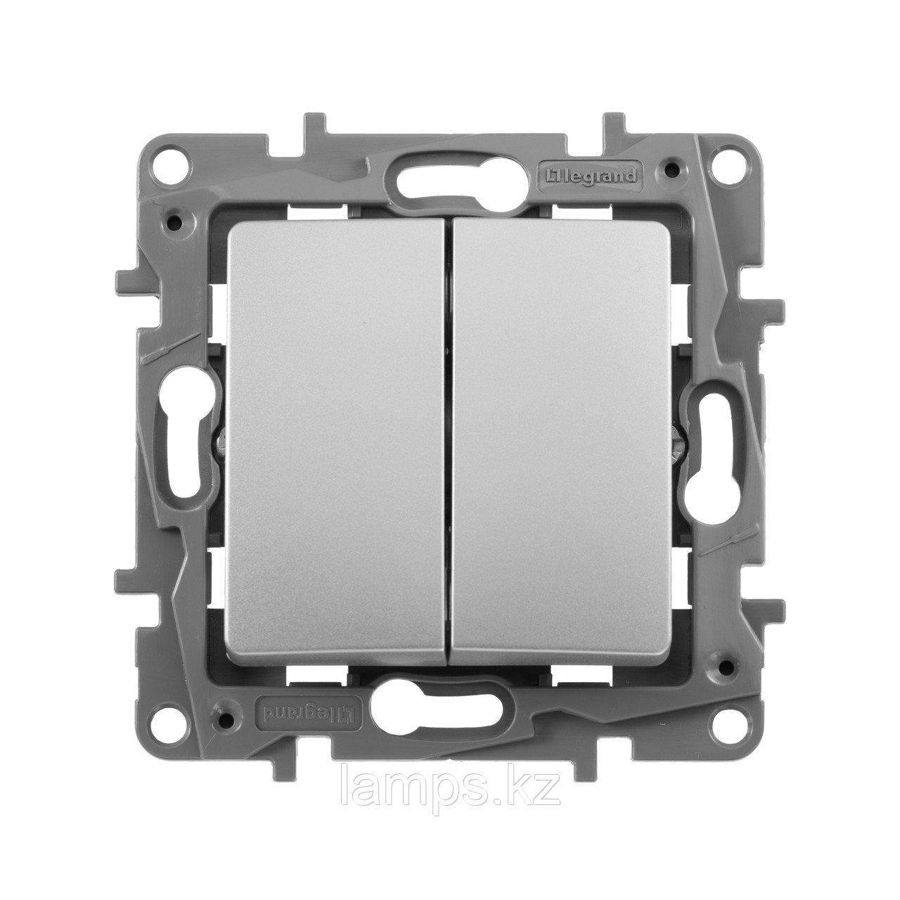 Выключатель двухклавишный - автоматические клеммы - Etika - 10 AX - 250 В~ - алюминий