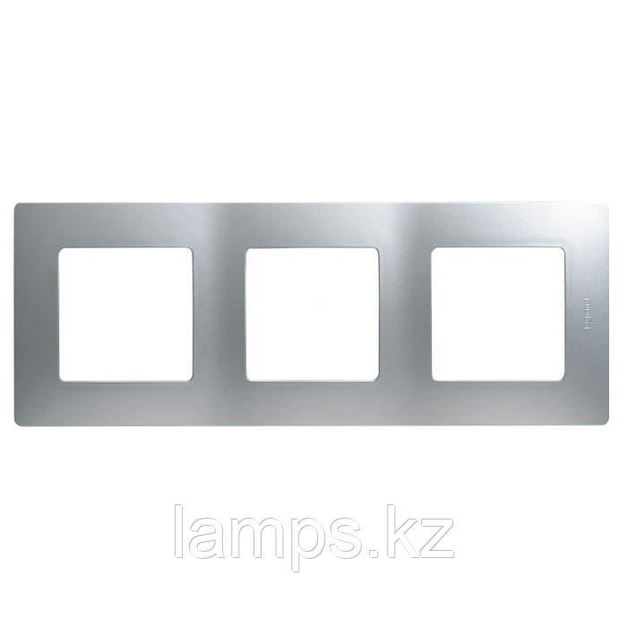 Рамка - 3 поста - Etika - алюминий