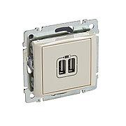 Зарядное устройство с 2-мя коннекторами USB - Valena - 1500 мА - слоновая кость
