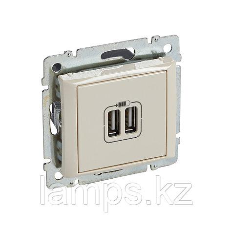 Зарядное устройство с 2-мя коннекторами USB - Valena - 1500 мА - слоновая кость, фото 2