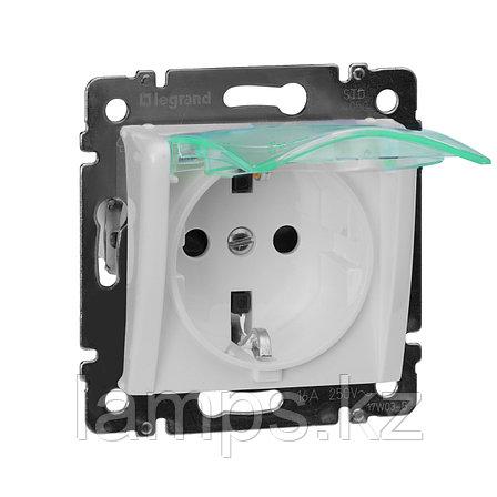 Розетка - Valena - IP 44 - немецкий стандарт - 2К+3 - с крышкой и защитными шторками - White, фото 2