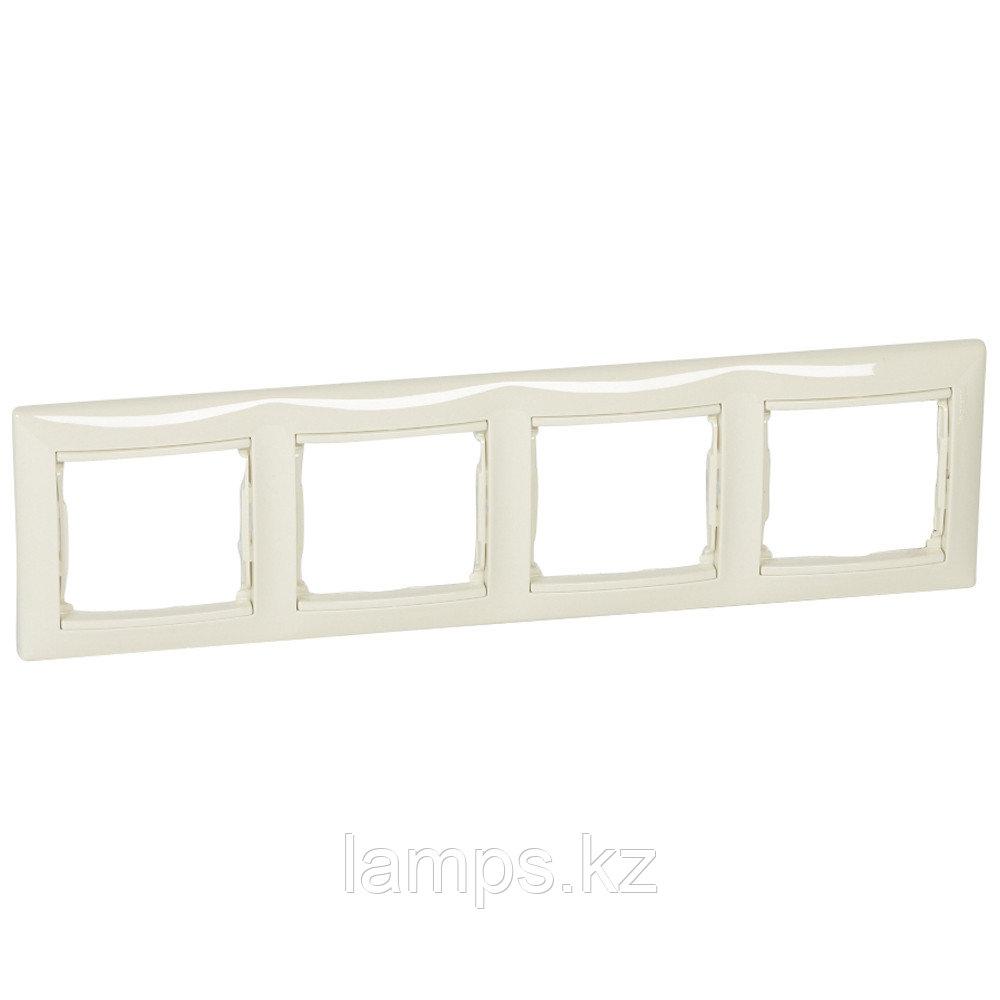 Рамка - Valena - 4 поста - горизонтальный монтаж - слоновая кость