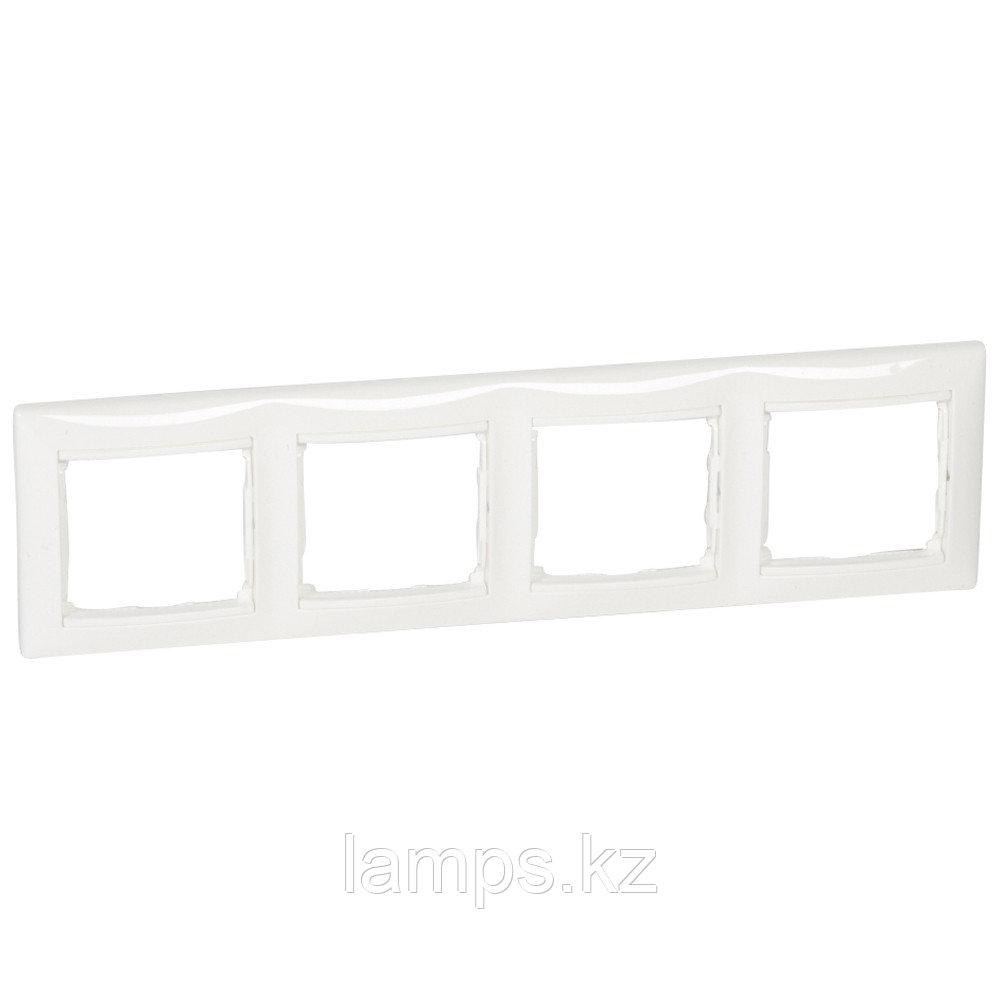 Рамка - Valena - 4 поста - горизонтальный монтаж - белый
