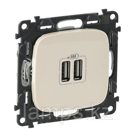 Зарядное устройство с двумя USB-разьемами 240В/5В 1500мА.С лицевой панелью.Слоновая кость, фото 2