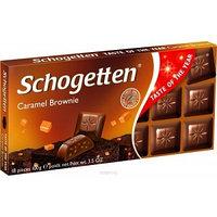 Schogetten шоколад молочный, брауни с кусочками печенья и карамели, 100 гр