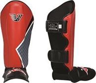 Защита голени и стопы Velo усиленная из кожи RED-BLACK