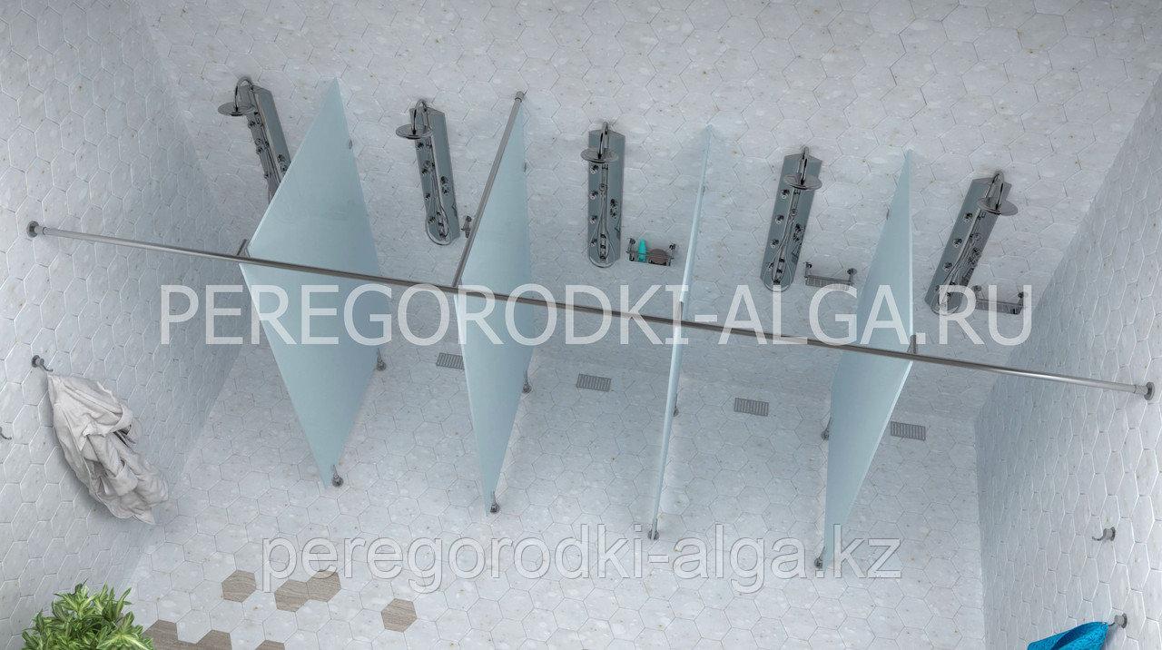 Душевые стеклянные перегородки (матовое стекло 8-10 мм) на 5 кабин