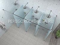 Душевые стеклянные перегородки (матовое стекло 8-10 мм) на 4 кабины