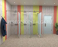 Душевые стеклянные перегородки (матовое стекло 8-10 мм) на 3 кабины, фото 1