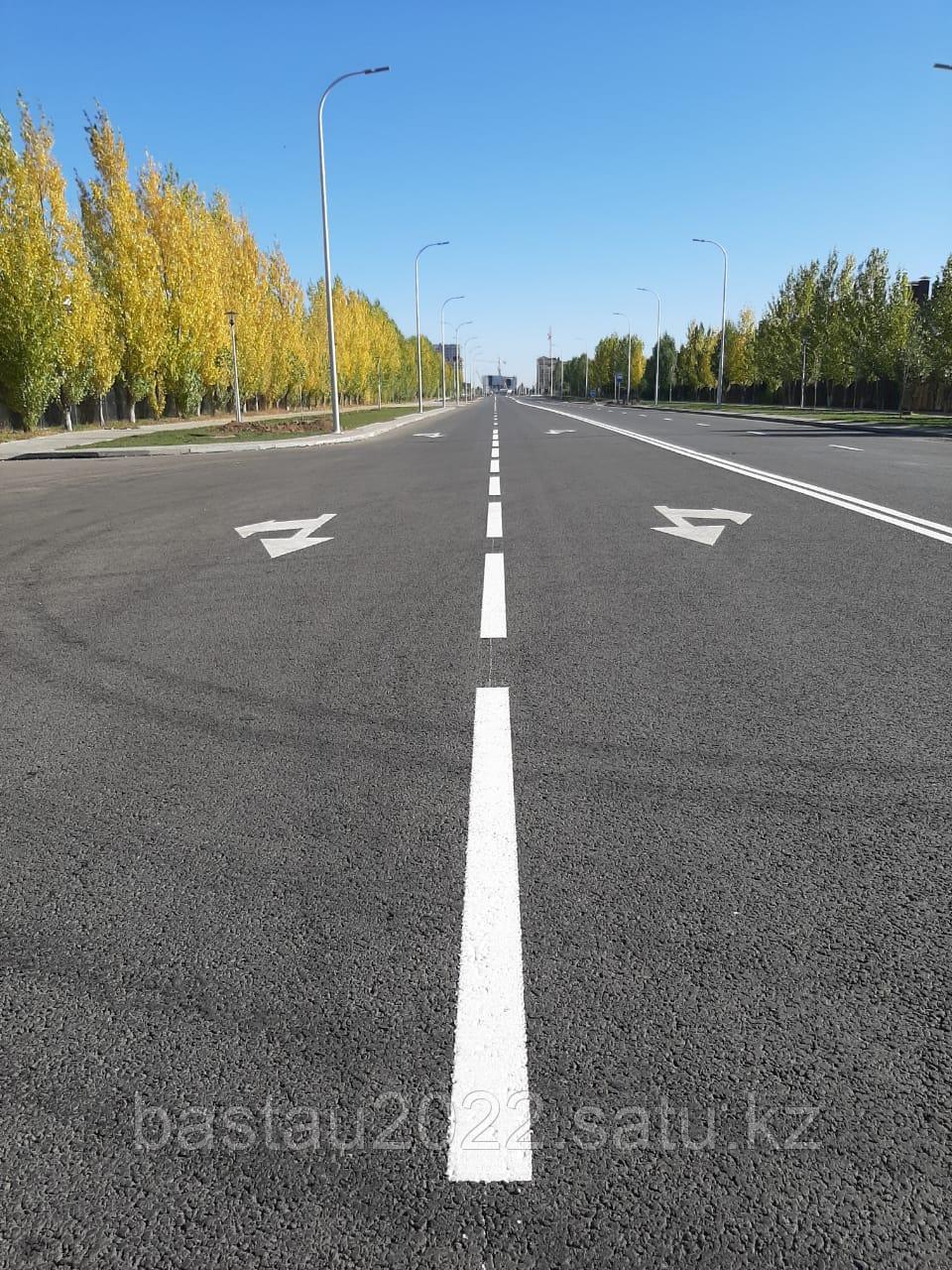 Нанесение дорожной разметки термопластиком на дорогах республиканского и областного значения, городах