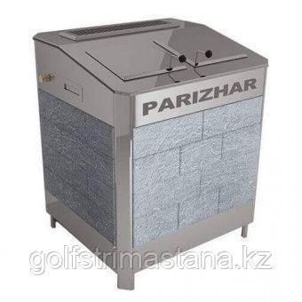 Печь-каменка, (до 31 м3), с парогенератором «ПАРиЖАР», 24 кВт ,  облицовка из природного камня серпентенит