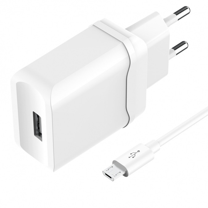 Зарядное устройство сетевое Olmio Smart IC + Micro USB белый