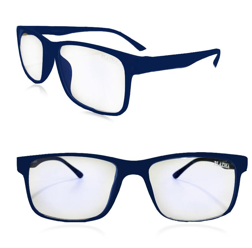 Компьютерные очки хамелеоны с тоненькой душкой узкая оправа матовая Plazma темно-синие - фото 1