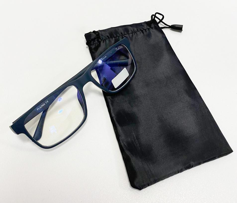 Компьютерные очки хамелеоны с тоненькой душкой узкая оправа матовая Plazma темно-синие - фото 9