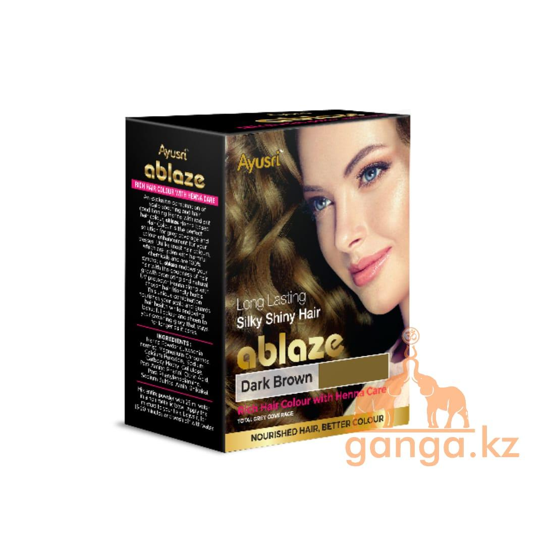 Темно-коричневая хна для волос (Dark brown henna AYUSRI), 6 пакетиков по 10 грамм