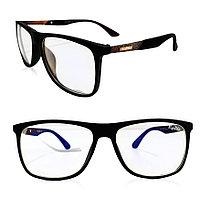 Компьютерные очки хамелеоны с тоненькой душкой с эмблемой узкая оправа матовая Plazma черные