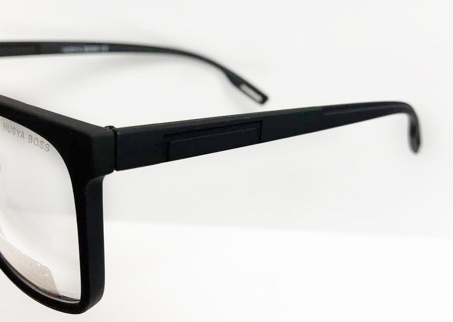 Компьютерные очки хамелеоны с тоненькой душкой узкая оправа матовая Husya boss черные - фото 4