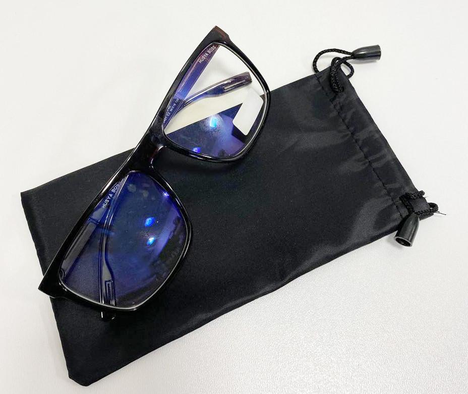 Компьютерные очки хамелеоны с тоненькой душкой узкая оправа глянцевая Husya boss черные - фото 9