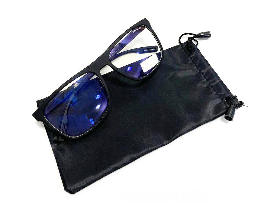 Компьютерные очки хамелеоны с тоненькой душкой узкая оправа матовая Husya boss черные - фото 9