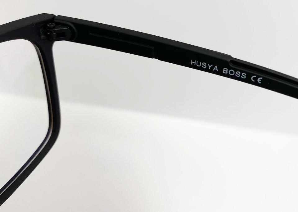 Компьютерные очки хамелеоны с тоненькой душкой узкая оправа матовая Husya boss черные - фото 7