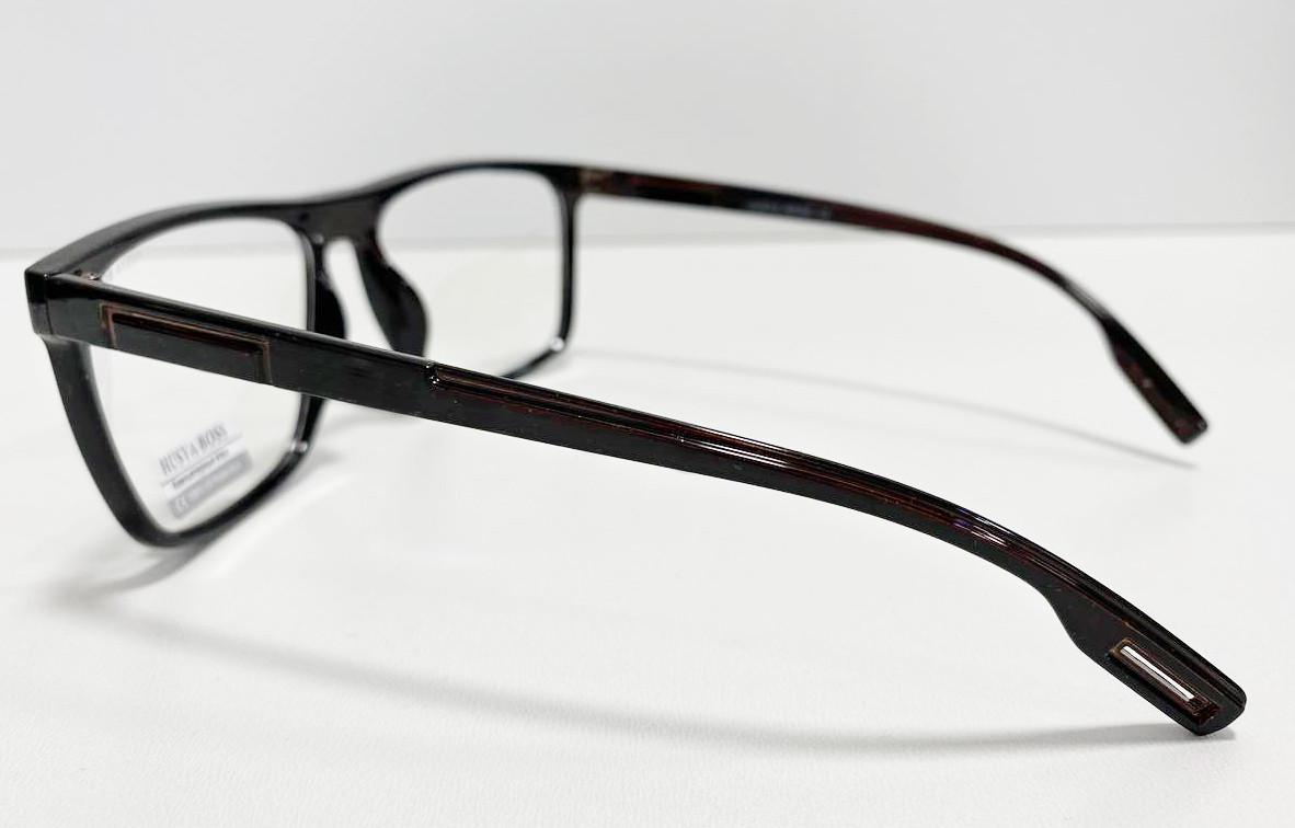 Компьютерные очки хамелеоны с тоненькой душкой узкая оправа глянцевая Husya boss черные - фото 3