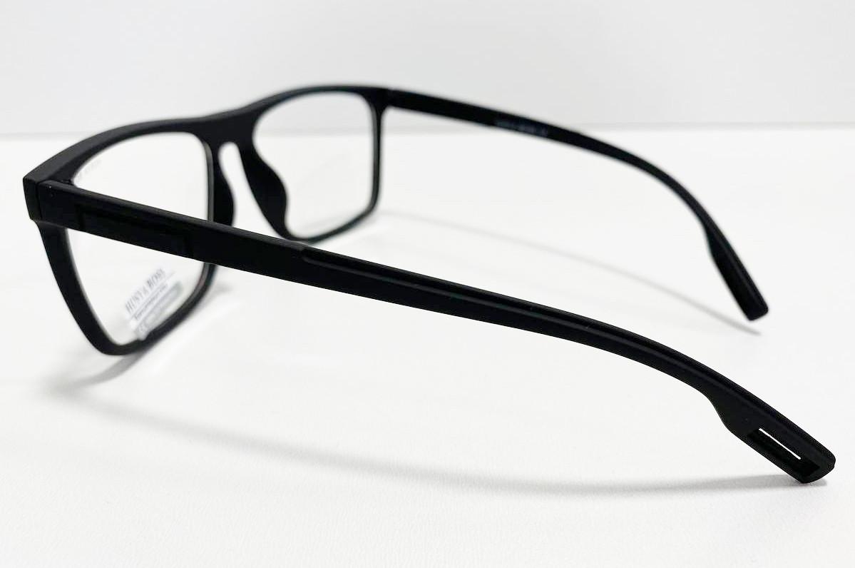 Компьютерные очки хамелеоны с тоненькой душкой узкая оправа матовая Husya boss черные - фото 3