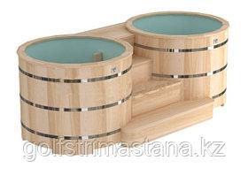 Двойные круглые купели «PREMIUM» из алтайского кедра, диаметр каждой купели 120 см. с пластиковой вставкой