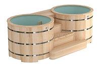 Двойные круглые купели «PREMIUM» из алтайского кедра, диаметр каждой купели 200 см. с пластиковой вставкой, фото 1