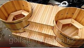 Кедровые купели с гидро, аэромассажем, диаметр каждой купели 150 см.