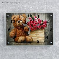 """Часы настенные, серия: Цветы, """"Плюшевый мишка"""" микс 25х35см"""