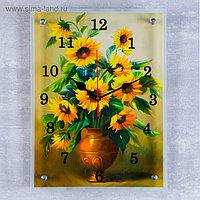 "Часы настенные, серия: Цветы, ""Желтые цветы в вазе"", 30х40 см, микс"